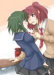 2girls alternate_costume bag_charm box charm_(object) commentary_request contemporary food green_eyes green_hair highres kitsune_maru long_sleeves looking_at_another medium_hair multiple_girls necktie necktie_grab neckwear_grab onozuka_komachi open_mouth panda pocky pocky_kiss red_eyes red_hair red_neckwear school_uniform shared_food shiki_eiki touhou two_side_up yuri