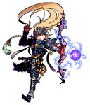 androgynous armor blonde_hair bow_(weapon) earrings electricity energy_ball eyepatch fantasy forehead_protector full_armor full_body gauntlets glowing glowing_eye greaves highres jewelry long_hair pointy_ears red_eyes solo steward_b weapon white_background