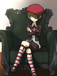 1boy beret brown_hair chair company_connection crossed_arms crossed_legs flower fluke_(youkai_watch) frown hair_over_one_eye hat indoors looking_at_viewer male_focus mary_janes parody professor_layton red_legwear sentinel_(ensofu) shoes sitting sock_garters socks solo striped striped_legwear white_legwear youkai_watch