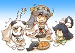 3girls barefoot black_hair bowl chibi collar comic commentary_request cutting_board detached_sleeves dress flying_sweatdrops food fruit gradient gradient_background green_eyes grey_hair hair_ribbon haruna_(kantai_collection) headgear hisahiko holding holding_knife horns i-class_destroyer japanese_clothes kantai_collection katsuragi_(kantai_collection) knife kuchiku_i-kyuu long_hair loquat mittens multiple_girls nontraditional_miko northern_ocean_hime open_mouth orange_eyes plate ponytail ribbon seiza shinkaisei-kan siting sitting skirt sleeveless sleeveless_dress smile star star-shaped_pupils symbol-shaped_pupils thighhighs translation_request white_hair wide_sleeves younger
