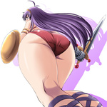1girl antenna_hair ass athena_(series) bare_shoulders bikini blush from_below gauntlets hairband legs long_hair princess_athena purple_eyes shield solo swimsuit sword tonpuu weapon