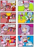! /\/\/\ 3girls 4koma :> awesome_face bat_wings blonde_hair blue_eyes blue_hair cirno closed_eyes comic cup error fang fangs finnish_text flandre_scarlet frog happy hat head_bump left-to-right_manga licking multiple_4koma multiple_girls parasol purple_hair red_eyes remilia_scarlet ribbon saliva setz short_hair simple_background slit_pupils smile star surprised sweat teacup tongue touhou translated tree umbrella wings