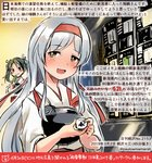 2girls :d blush colored_pencil_(medium) commentary_request dated green_hair hair_between_eyes hair_ribbon headband holding japanese_clothes kantai_collection kirisawa_juuzou long_hair multiple_girls muneate numbered open_mouth red_headband ribbon short_hair shoukaku_(kantai_collection) smile tasuki traditional_media translation_request twintails twitter_username white_hair white_ribbon yellow_eyes zuikaku_(kantai_collection)