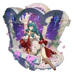 dragalia_lost dress flower green_hair hildegarde_(dragalia_lost) lying non-web_source official_art on_side plant purple_eyes rose saitou_naoki sky star_(sky) starry_sky vines white_dress