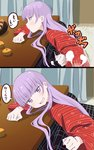 1girl 2koma :d bangs blunt_bangs blush comic commentary_request ei_ei_okotta? eyebrows_visible_through_hair food from_side fruit highres indoors japanese_clothes kotatsu long_hair long_sleeves mandarin_orange new_game! open_mouth pink_x poptepipic purple_eyes purple_hair sitting smile suzukaze_aoba table translation_request wide_sleeves