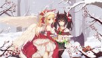 2girls alternate_costume angel angel_(girls_x_battle) angel_and_devil angel_wings animal_ears animal_hood artist_request bare_shoulders berry black_hair black_legwear blonde_hair blue_eyes branch capelet cat_ears christmas demon demon_girl demon_horns demon_tail demon_wings dress elbow_gloves fake_animal_ears fang_out feathered_wings forest frills fur_trim game_cg girls_x_battle gloves hairband holding_hands hood horns long_hair looking_at_viewer midriff miniskirt multiple_girls nature pom_pom_(clothes) ponytail red_gloves skirt smile snow snowing star succuba_(girls_x_battle) succubus suspenders tail thighhighs twintails white_legwear white_wings wings yellow_eyes