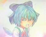 1girl acrylic_paint_(medium) blue_eyes blue_hair bow cirno graphite_(medium) hair_bow half-closed_eyes looking_at_viewer open_mouth ribbon solo touhou traditional_media upper_body watercolor_(medium) wings yuyu_(00365676)