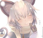 1girl animal_ears basket breath capelet closed_eyes dress face gloves grey_hair hand_up ishikkoro long_sleeves mouse mouse_ears mouse_tail nazrin open_mouth pink_lips scarf simple_background smile solo steam tail teeth touhou white_background