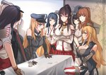 6+girls akagi_(kantai_collection) akizuki_(kantai_collection) antiqq bare_shoulders bismarck_(kantai_collection) black_hair blonde_hair blue_eyes breast_hold breasts brown_eyes brown_gloves brown_hair crossed_arms detached_sleeves dress food food_on_face front-tie_top gloves graf_zeppelin_(kantai_collection) hair_between_eyes hairband hakama haruna_(kantai_collection) hat headgear huge_breasts iowa_(kantai_collection) japanese_clothes kantai_collection large_breasts long_hair long_sleeves military military_hat military_uniform multiple_girls nontraditional_miko open_mouth parody partly_fingerless_gloves peaked_cap pleated_skirt ponytail prinz_eugen_(kantai_collection) pudding real_life red_hakama red_skirt saratoga_(kantai_collection) short_hair short_sleeves skirt smile star star-shaped_pupils symbol-shaped_pupils tasuki tears thighhighs uniform white_dress yamato_(kantai_collection) yugake z_flag