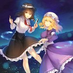 2girls :d bangs black_headwear black_skirt blonde_hair book bow breasts brown_eyes brown_hair commentary_request dress eyebrows_visible_through_hair fedora feet_out_of_frame frills hair_between_eyes hands_up hat hat_bow highres holding holding_book holding_pen juliet_sleeves large_breasts long_sleeves looking_at_viewer maribel_hearn medium_breasts mob_cap multiple_girls necktie night night_sky open_mouth outdoors pen puffy_sleeves purple_dress red_neckwear rin_falcon sash shirt short_hair skirt sky smile star_(sky) starry_sky touhou usami_renko white_bow white_headwear white_sash white_shirt yellow_eyes