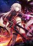1girl ahoge ass bangs bikini black_bikini black_fire black_gloves black_jacket blush breasts choker cloud commentary_request energy eyebrows_visible_through_hair fate/grand_order fate_(series) fire floating_hair full_moon gabiran gloves hair_between_eyes holding holding_sword holding_weapon jacket jeanne_d'arc_(alter_swimsuit_berserker) jeanne_d'arc_(fate)_(all) katana large_breasts long_hair looking_at_viewer looking_back moon multicolored multicolored_sky multiple_swords night o-ring o-ring_bikini orange_sky outdoors palm_tree red_legwear sheath sheathed shrug_(clothing) sidelocks silver_hair single_thighhigh sky solo star_(sky) starry_sky sunset swimsuit sword thighhighs tree very_long_hair weapon white_hair yellow_eyes
