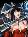 1boy 1girl 2016 ahri animal_ears bare_shoulders black_hair breasts cleavage collarbone dagger dated detached_sleeves facial_mark fox_ears highres hood knife_to_throat korean_clothes league_of_legends lips looking_at_another looking_at_viewer narrowed_eyes nose one_eye_covered open_mouth pursed_lips realistic restrained serious slit_pupils somum surprised tail talon_(league_of_legends) upper_body weapon yellow_eyes