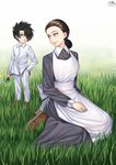 1boy 1girl absurdres apron black_eyes black_hair brown_footwear child commission dated day eye_contact flower grass hair_over_one_eye hand_in_pocket highres holding holding_flower isabella_(yakusoku_no_neverland) long_sleeves looking_at_another mother_and_son nanni_jjang outdoors pants purple_eyes ray_(yakusoku_no_neverland) shirt sitting smile standing wariza white_pants white_shirt yakusoku_no_neverland