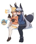 2girls :d animal_ears black_gloves black_legwear blazer blonde_hair blush brown_eyes closed_mouth extra_ears ezo_red_fox_(kemono_friends) fang fox_ears fox_tail full_body fur_trim gloves gradient_hair hair_between_eyes handheld_game_console hands_on_another's_shoulders jacket japari_symbol kemono_friends kugi_ta_hori_taira loafers long_hair multicolored_hair multiple_girls necktie open_mouth pantyhose playing_games pleated_skirt shoes silver_fox_(kemono_friends) silver_hair sitting skirt smile stylus tail two-tone_hair very_long_hair yellow_legwear