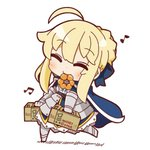1girl ahoge armored_skirt artoria_pendragon_(all) blonde_hair cape chibi closed_eyes doughnut eyebrows_visible_through_hair fate/stay_night fate_(series) food food_in_mouth full_body gauntlets highres musical_note nuu_(nu-nyu) pastry_box saber solo walking