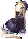 1girl abigail_williams_(fate/grand_order) bad_id bad_pixiv_id bangs black_bow black_dress black_footwear black_hat blonde_hair bloomers blue_eyes bow bug butterfly closed_mouth commentary_request dress fate/grand_order fate_(series) forehead hair_bow hat highres insect long_hair long_sleeves looking_at_viewer muunyan_(yumenekoya) orange_bow parted_bangs polka_dot polka_dot_bow shoes simple_background sitting sleeves_past_fingers sleeves_past_wrists solo underwear very_long_hair wariza white_background white_bloomers