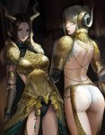 2girls armlet ass back backless_outfit blonde_hair breastplate circlet elbow_pads gloves green_eyes horned_headwear horns jewelry kulve_taroth_(armor) leotard_under_clothes looking_at_viewer looking_back medium_hair monster_hunter monster_hunter:_world multiple_girls parted_lips phamoz ponytail reversed smile yellow_eyes