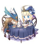 2girls azur_lane bag blonde_hair blue_eyes blue_headwear braid brown_hair cape chair chibi closed_eyes coat codeblueocean cup eating eyebrows_visible_through_hair food food_theft fork gloves hair_ribbon hardy_(azur_lane) hat hunter_(azur_lane) knife long_hair long_sleeves military_hat multiple_girls neckerchief open_mouth plate ribbon satchel short_hair sitting table tablecloth teacup teapot tricorne white_gloves