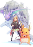 1girl black_legwear blonde_hair crobat crossed_arms fu-ta hair_ornament hairclip holding holding_poke_ball jacket long_hair long_sleeves looking_at_viewer open_clothes open_jacket original poke_ball pokemon pokemon_(creature) ponytail raichu red_eyes shirt skirt smile standing steelix teeth thighhighs wings zipper