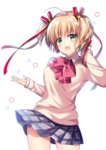 1girl :d bangs blonde_hair blue_skirt bow brown_sweater collared_shirt commentary_request cowboy_shot eyebrows_visible_through_hair green_eyes hair_between_eyes hair_bow hair_ornament highres kamikita_komari little_busters! open_mouth plaid plaid_skirt pleated_skirt red_bow ringo_sui school_uniform shirt simple_background skirt smile solo star star_hair_ornament sweater two_side_up white_background white_shirt