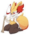 1girl ahoge animal_ears bespectacled blush braixen breasts fox_ears freckles fur furry glasses huge_ahoge no_humans no_nipples nude pokemon pokemon_(game) pokemon_xy red_eyes round_glasses sitting slugbox snout solo stick tail thick_thighs thighs wariza