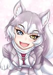 1girl :d animal_ear_fluff animal_ears belt blue_eyes blush commentary_request dog_(mixed_breed)_(kemono_friends) dog_ears dog_tail eyebrows_visible_through_hair fang gloves grey_hair grey_jacket heterochromia highres jacket kemono_friends looking_at_viewer multicolored_hair open_mouth pantyhose paw_pose short_hair skin_fang skirt smile solo tail takkutin_omega two-tone_hair white_gloves white_hair yellow_eyes