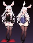 1girl animal_ears ass_visible_through_thighs bad_id bad_twitter_id bare_shoulders black_background black_footwear black_gloves black_legwear blush breasts bunny_ears choker collarbone covered_navel elin_(tera) gloves grimgrim high_heels hips jpeg_artifacts leg_garter legs long_hair looking_at_viewer maid mary_janes multiple_views name_tag old_school_swimsuit one-piece_swimsuit one_eye_closed red_eyes school_swimsuit shoes simple_background small_breasts smile standing swimsuit tera_online thighhighs variations white_hair