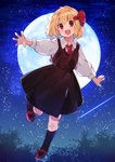 1girl akagashi_hagane ascot bangs black_legwear black_skirt blonde_hair blouse blush bow commentary dress_shirt eyebrows_visible_through_hair full_body full_moon hair_bow long_sleeves moon night open_mouth outdoors outstretched_arms red_bow red_eyes red_neckwear rumia shirt shooting_star short_hair skirt skirt_set sky socks solo star_(sky) touhou vest