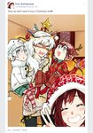4girls alternate_universe angry child christmas couple facebook hat if_they_mated ips_cells kuma_(bloodycolor) multiple_girls ruby_rose rwby salute santa_hat stress two-finger_salute v weiss_schnee yuri