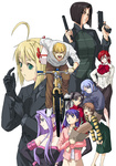1boy 6+girls adjusting_clothes adjusting_gloves ahoge bad_id bad_pixiv_id bag bare_shoulders bicycle black_eyes black_gloves black_hair blonde_hair blue_eyes blue_hair bob_cut box braid bread breasts brown_eyes brown_hair caster dress dual_wielding eriance fate/stay_night fate/zero fate_(series) food formal fujimura_taiga gloves golden_boy green_eyes grocery_bag ground_vehicle gun hair_ribbon handgun highres hisau_maiya long_hair matou_sakura medium_breasts multiple_girls open_mouth pant_suit parody pointy_ears purple_eyes purple_hair red_eyes red_hair ribbon rider riding saber shopping_bag short_hair siblings simple_background sisters smile sola-ui_nuada-re_sophia-ri strapless strapless_dress suit toosaka_rin two_side_up weapon white_background
