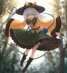 1girl bangs black_frills black_headwear bloomers blue_eyes boots bow brown_footwear collared_shirt commentary eyeball eyebrows_visible_through_hair flying frilled_shirt_collar frilled_sleeves frills green_skirt hair_between_eyes hat hat_bow hat_ribbon heart heart_of_string io_(io_oekaki) komeiji_koishi light_blush long_sleeves looking_at_viewer medium_hair open_mouth outdoors outstretched_arms ribbon shirt signature silver_hair skirt smile solo string third_eye touhou tree underwear white_bloomers wide_sleeves wind yellow_bow yellow_ribbon yellow_shirt