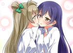 2girls bangs blue_hair blush commentary grey_hair hair_between_eyes hair_ribbon imminent_kiss long_hair long_sleeves looking_at_another love_live! love_live!_school_idol_project minami_kotori multiple_girls one_side_up open_mouth otonokizaka_school_uniform ribbon school_uniform shirt simple_background sonoda_umi umekichi upper_body white_shirt yellow_eyes yuri