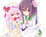 2girls :o absurdres animal_ears apron azur_lane bangs blue_shirt blush bow box brown_apron brown_hair cat_ears cherry_print commentary_request covered_mouth crossover eyebrows_visible_through_hair food_print frilled_apron frills gift gift_box green_sailor_collar green_skirt hair_between_eyes hair_bow hair_ornament heart-shaped_box highres holding holding_gift kantai_collection kappougi kisaragi_(azur_lane) kisaragi_(kantai_collection) long_hair long_sleeves multiple_girls namesake nekoyanagi_(azelsynn) parted_lips pink_eyes pink_hair pleated_skirt print_apron purple_eyes red_bow sailor_collar school_uniform serafuku shirt simple_background skirt valentine very_long_hair white_apron white_background white_sailor_collar