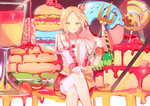 1boy :p axis_powers_hetalia blonde_hair cake candy crossed_legs crown doughnut food fruit green_eyes highres lollipop looking_at_viewer macaron male_focus mini_crown pancake poland_(hetalia) pudding solo strawberry tongue tongue_out yasato