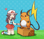 1girl :3 \(^o^)/ ^_^ animated annoyed belly_poke blue_(pokemon) blush brown_hair charizard closed_eyes crossed_arms dragonite electrode explosion grin happy hat heart huge_filesize kneeling knees_together_feet_apart lickitung long_hair lowres mewtwo pokemoa pokemon pokemon_(creature) pokemon_(game) pokemon_frlg poking raichu smile snorlax standing standing_on_box ugoira unamused