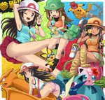 1girl :q ;d armpits ass bag black_legwear blue_(pokemon) blue_skirt brown_eyes brown_hair candy charizard commentary crossed_legs cup dark_skin drink drinking_glass flower food fruit gen_1_pokemon gen_2_pokemon gen_6_pokemon goggles green_hat green_panties green_skirt greninja hand_behind_head hand_on_headwear hat hibiscus horizontal-striped_panties ice impossible_clothes impossible_shirt ivysaur jigglypuff lemon lemon_slice lollipop long_hair looking_at_viewer loose_socks miniskirt multiple_persona one_eye_closed open_mouth panties pantyshot pantyshot_(sitting) pantyshot_(standing) pichu pikachu pleated_skirt pokemoa pokemon pokemon_(creature) pokemon_(game) pokemon_frlg porkpie_hat shirt shoes_removed sitting skirt sleeveless sleeveless_shirt smile smoke squirtle standing striped striped_panties super_smash_bros. sweatdrop tongue tongue_out underwear v white_hat wristband yellow_hat yellow_legwear
