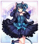 1boy :d animal_ears bangs bare_shoulders blue_dress blue_hair bow buttons cat_ears cat_tail choker commission dress fang feet_out_of_frame frilled_dress frills fur_trim green_eyes hair_between_eyes hair_bow kneehighs long_sleeves looking_at_viewer open_mouth otoko_no_ko paw_pose ryoune_yami sasucchi95 short_hair side_ponytail smile socks tail utau