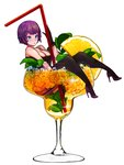 1girl bad_id bad_pixiv_id black_gloves black_legwear blue_eyes blush breasts chestnut_mouth cleavage cup drink drinking_glass drinking_straw food fruit gloves happening18 high_heels highres ice in_container in_cup large_breasts looking_at_viewer mint orange orange_slice original oversized_object purple_hair short_hair simple_background solo white_background