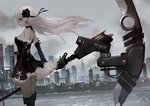 1girl arms_at_sides bangs black_choker black_dress black_footwear boots breasts buckle choker city closed_mouth cloud cloudy_sky commentary day detached_sleeves dress erospanda expressionless floating_hair frilled_dress frilled_sleeves frills from_side hair_ornament highres holding holding_weapon huge_weapon long_hair long_sleeves original outdoors profile red_eyes river scythe sideboob signature silver_hair sky solo strapless strapless_dress thigh_boots thighhighs weapon wind