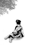 1girl artist_request back barefoot black_hair earrings facing_away feet greyscale inuyasha japanese_clothes jewelry kagura_(inuyasha) kimono leaf monochrome pointy_ears sitting soles solo spread_toes tied_hair toes topknot tree