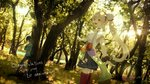 2girls :d absurdres anniversary bangs black_pants black_skirt boots breasts brown_legwear character_request clothes_writing collared_shirt commentary day elf elu_(nijisanji) eyebrows_visible_through_hair forest green_shirt hair_between_eyes highres huge_filesize knee_boots kumamoto_nomii-kun light_brown_hair long_hair medium_breasts multiple_girls nature nijisanji open_mouth outdoors pants pleated_skirt pointy_ears red_eyes red_legwear river shirt short_sleeves side_ponytail sidelocks skirt smile thighhighs translation_request tree very_long_hair virtual_youtuber water white_shirt