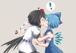 2girls cirno heart highres ice ice_wings kiss multiple_girls roke_(taikodon) shameimaru_aya simple_background touhou wings