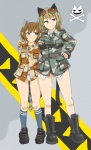 2girls animal_ears bad_id blonde_hair blue_eyes boots brown_hair camouflage cat_ears commentary green_eyes multiple_girls ogitsune_(ankakecya-han) original panties patricia_mitchell skull_and_crossbones strike_witches strike_witches_1991 sunglasses tail underwear uniform