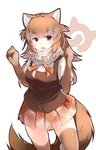 1girl absurdres animal_ears arms_up blush breasts brown_eyes brown_gloves brown_hair brown_legwear brown_skirt dhole_(kemono_friends) elbow_gloves eyebrows_visible_through_hair fang gloves highres japari_symbol kanzakietc kemono_friends large_breasts long_hair looking_at_viewer open_mouth simple_background skirt smile solo tail thighhighs white_background