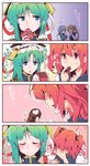 4girls 4koma =3 asymmetrical_hair blue_eyes blush box chocolate closed_eyes comic commentary_request covering_mouth epaulettes eyebrows_visible_through_hair faceless faceless_female gift gift_box green_hair hair_bobbles hair_ornament hat heart highres horns kitsune_maru multiple_girls oni onozuka_komachi ponytail red_eyes red_hair ribbon shiki_eiki sweatdrop touhou translation_request two_side_up valentine