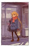 1girl :t bag blonde_hair brown_eyes coat commentary_request full_body futaba_anzu grocery_bag idolmaster idolmaster_cinderella_girls loafers long_hair low_twintails matsuo_yuusuke mittens outdoors pantyhose plastic_bag pleated_skirt scarf shoes shopping_bag shoulder_bag sketch skirt solo stuffed_animal stuffed_bunny stuffed_toy twintails