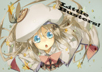 1girl :o blonde_hair blue_eyes bow cape hat little_busters! long_hair looking_up noumi_kudryavka page pink_bow school_uniform