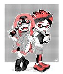 1boy 1girl arm_rest bike_shorts boots coral crossed_legs cup disposable_cup fangs full_body hakinikui_kutsu_no_mise halftone helmet inkling kelp leggings legwear_under_shorts limited_palette long_hair night_vision_device open_mouth shoes shorts smile sneakers spiked_hair splatoon splatoon_2 tentacle_hair tongue tongue_out