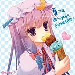 15_(tooka) 1girl bow checkered checkered_background crescent_hair_ornament double_bun eating food hair_bow hair_ornament hat heart ice_cream mob_cap patchouli_knowledge purple_eyes purple_hair solo touhou