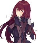 1girl blush bodysuit breasts closed_mouth covered_nipples embarrassed fate/grand_order fate_(series) from_behind hair_between_eyes large_breasts long_hair purple_bodysuit red_eyes red_hair scathach_(fate)_(all) scathach_(fate/grand_order) shoulder_armor simple_background solo spaulders tuxedo_de_cat white_background